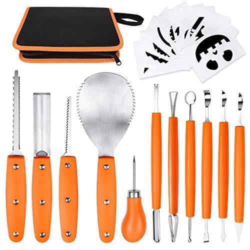 OWUDE Professionelles Kürbis-Carving-Set, 11-teiliges Hochleistungs-Carving-Werkzeug aus Edelstahl für Halloween mit Tragetasche und 10-teiligen Carving-Schablonen-Orange