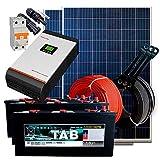 Kit Solaire 24v 600w/3000w jour Convertisseur Multifonction 3kva Régulateur PWM 50A Batterie Monobloc TAB 245Ah