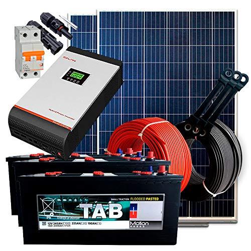 Kit Solar 24V 500W / 2.500W Día + 2 Paneles + 2 Baterías Monoblock TAB 245Ah + Inversor Multifunción 3kva con Regulador MPPT 60A