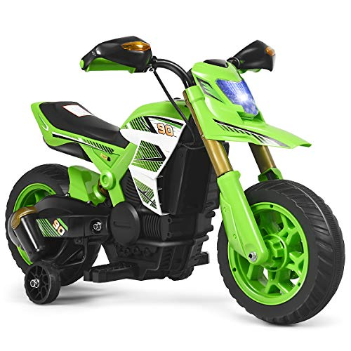 Costzon Kids Ride on Motorcycle, Battery Powered Motor Bike w/ Training Wheels, LED Lights, Forward Button, Anti-Slip Wheels, Pedal, Comfortable Seat, Rechargeable Electric Toy (Green)