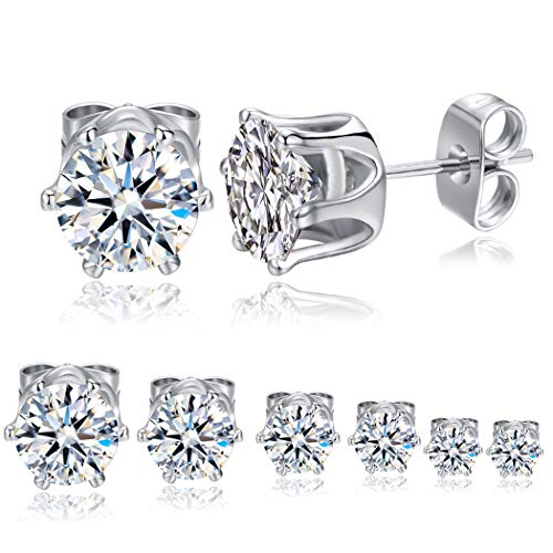 Cubic Zirconia Stud Earrings Set for Women 18k White Gold Plated Earring Men Hypoallergenic Jewellery Pack of 6