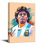 RIP Diego Maradona - Lienzo decorativo enmarcado (40,6 x 60,9 cm), diseño de jugador de fútbol argentino El niño dorado