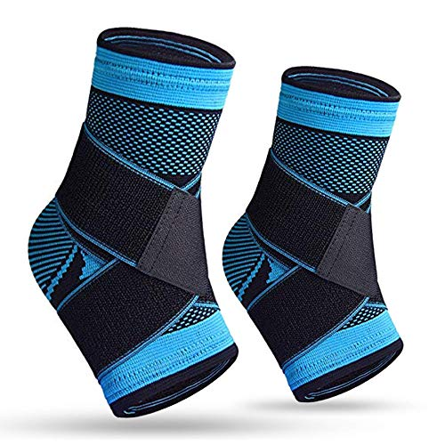 Plantar Fasciitis SocksPair Compression Ankle Brace Sleeve with Arch Support for Eases Swelling Achilles Tendonitis Heel Spurs Swelling Foot Pain Relief BluePair