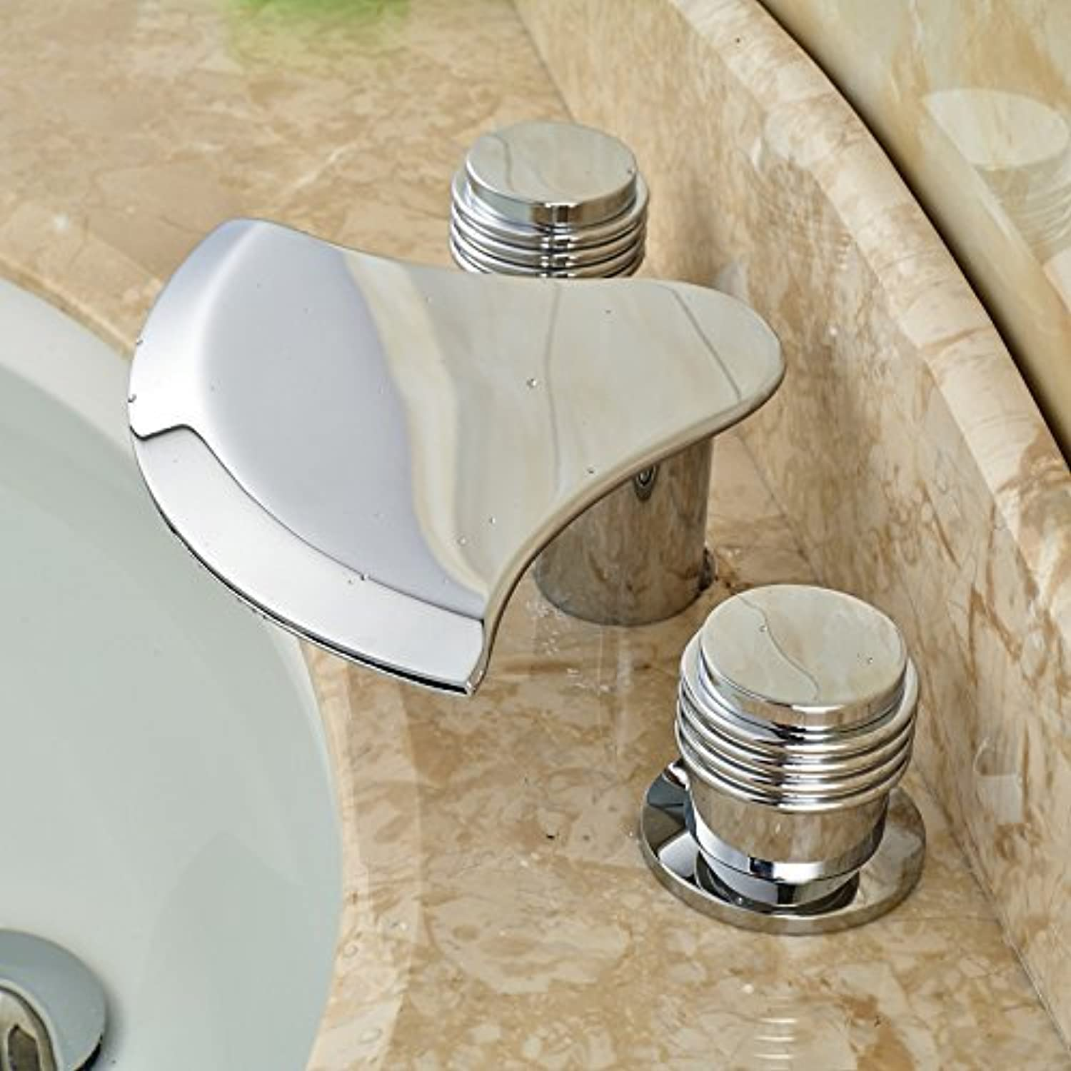 Modern Creative Waterfall spout Mount Bridge of wash Basin Faucet Bathroom Kitchen taps Wide Spread Dual Control