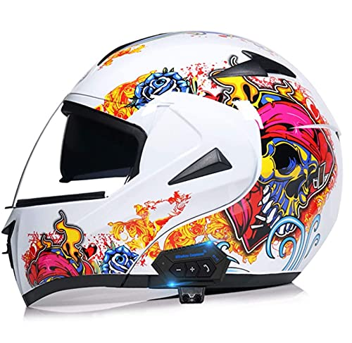 ZhangHai Bluetooth Modulares Casco Moto Moto Casco Integral con HD Anti-Fog Doble Visera, Scooter Biker Racing Casco ECE Homologado para Mujer Hombre Adultos