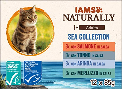 IAMS Naturally Collezione di mare per gatti adulti 12x85g