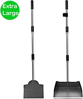 Upgraded Dog Pooper Scooper Tray and Spade Set, 2 Pack Adjustable Long Handle Metal Tray and Spade Poop Scoop with Bin for Pet Waste Removal, No Bending Clean Up for Medium and Large Dogs