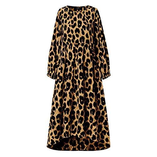 Casual Mujer Leopardo Fiesta Baggy Vestido Elegante Impresión Vestido Mujeres Largo Midi Vestido 2021 Otoño Verano Sundress Manga Larga Túnica