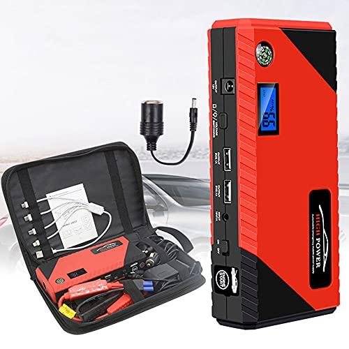 Arrancador de Coche - 1200A Pico 20000mAh Jump Starter, Batería Arrancador de Coche (Motor Todo Gas o Diesel hasta 6.0L), Bateria Externa con Puertos de Carga Dual, LED Linterna