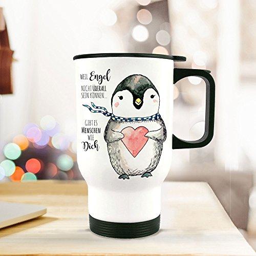 ilka parey wandtattoo-welt® Thermobecher Thermotasse Thermosflasche Becher Tasse Pinguin mit Herz und Spruch Menschen wie Dich.tb061