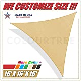 ColourTree 16' x 16' x 16' Sand Beige Sun Shade Sail Triangle Canopy Awning Fabric Cloth Screen - UV Block UV Resistant Heavy Duty Commercial Grade - Outdoor Patio Carport - (We Make Custom Size)