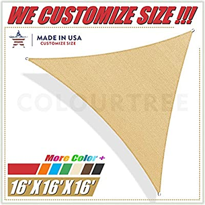 ColourTree 16' x 16' x 16' Sand Beige Sun Shade Sail Triangle Canopy Awning Fabric Cloth Screen - UV Block UV Resistant Heavy Duty Commercial Grade - Outdoor Patio Carport - (We Make Custom Size)