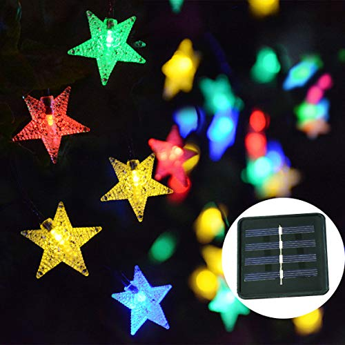Windpnn Multicolor Solar Star String Lights Outdoor, 30FT 50LED Solar Powered Fairy Star Twinkle Lights, Waterproof Lights for Christmas, Party, Home, Outdoor, Wedding, Garden Decoration