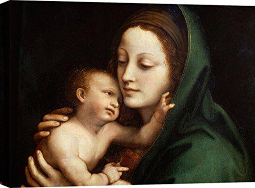 Art Print Cafe - Cuadro - Impresion sobre Lienzo - Anónimo, Virgen con el niño (Detalle) - 100x70 cm