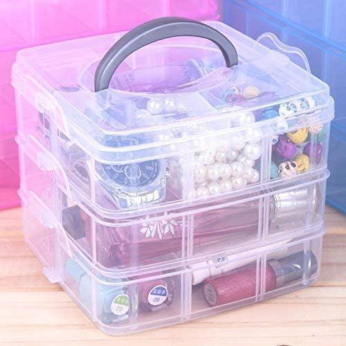 XYJIQS 3 Layer 18 Grids Storage Plastic Boxes Medicine Jewellery Bead Storage Box Container Organiser Case Craft Boxes Random Color