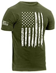 Graphics Displaying A Distressed US Flag On The Center Chest Reversed Flag Graphic On Right Sleeve Athletic Cut T-Shirt Features A Insert Collar, Wider Chest, Arm Hole And Sleeve Opening Tagless Label For Added Comfort