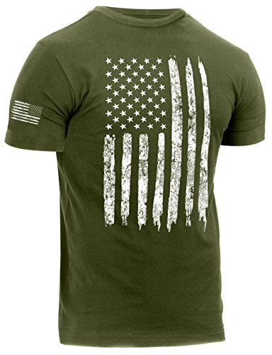Rothco Distressed US Flag Athletic Fit T-Shirt, Olive Drab, L