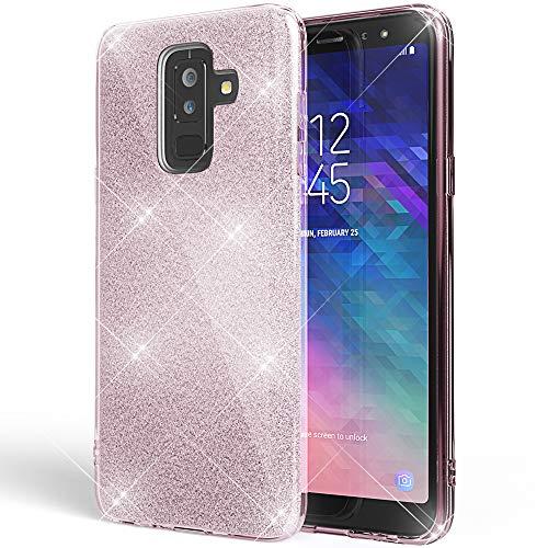 NALIA Glitter Hülle kompatibel mit Samsung Galaxy A6 Plus, Glitzer Handyhülle Ultra-Slim Silikon-Hülle Back-Cover Schutzhülle, Sparkle Handy-Tasche Bumper, Dünnes Bling Strass Etui, Farbe:Pink