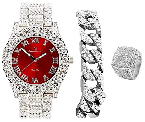 Mens Silver Big Rocks Bezel Bloody-Red Dial with Roman Numerals Fully Iced Out Watch w/Cuban Chain Bracelet & Ring Size 10- Bloody Red/Silver- ST10327CRS (10)