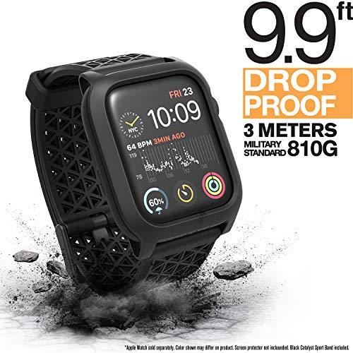 Catalyst Gehäuse für Apple Watch Serie 5 und Serie 4, 44 mm, Schnallenverschluss, Fallschutz 1.2m, EKG- und EKG-kompatibel, Sportarmband, robust, Fallschutz für Apple Watch-Gehäuse (Stealth Black)