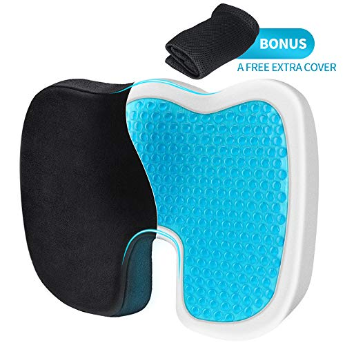 Villsure Memory Foam Seat Cushion Gel Enhanced, Non-Slip Orthopedic Chair Cushion for Sciatica/Coccyx/Lower Back & Tailbone Pain Relief, Chair Pad for Home Office/w Extra Cover