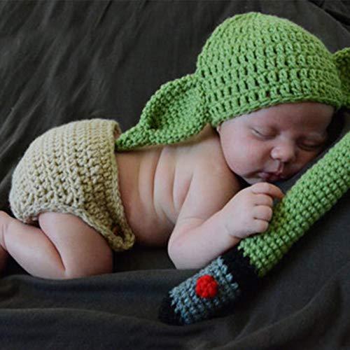 MOVKZACV Disfraz de Yoda para bebé, accesorios para fotografía recién nacida, conjunto de trajes de punto de ganchillo, sombrero y cubierta de pañales, regalo de fiesta de cumpleaños
