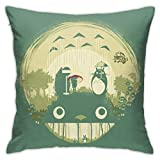 Anime My Neighbor Totoro Throw Pillow Covers ModernDecorative Square Soft Indoor/Outdoor Hidden Zippersoft and Comfortable Pillowcase Cushion Covers for Sofa Bedroom Couch Car Office 18 X18 in