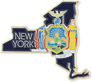 New York State Shape Outline and New York State Flag Lapel Pin - Bulk Value Pack Available!