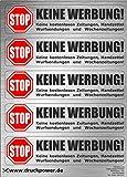 INDIGOS UG - Edelstahl-Optik - Briefkastenaufkleber im hochwertigen Edelstahllook - Keine Werbung Aufkleber - einzeln ablösbar - für den Briefkasten - 73x17 mm pro Sticker - 1 Bogen mit 5 Stickern