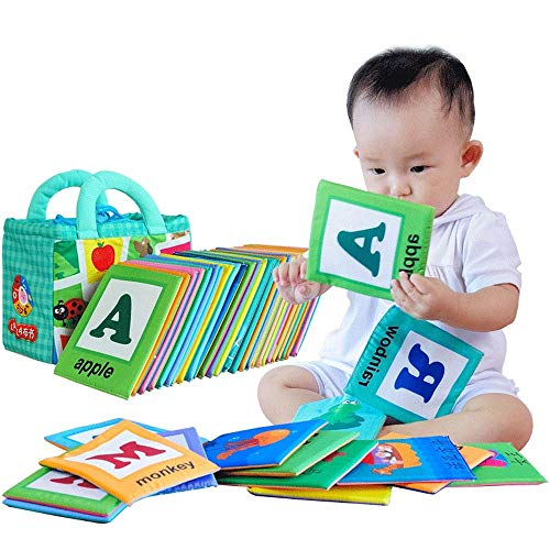LALABABY Soft Alphabet Cards with Cloth Storage Bag for Babies...