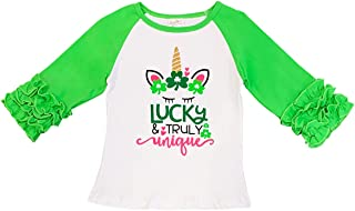 BluNight Collection Little Girl Kids Back to School Raglan Cotton Christmas Top Tee T-Shirt Size 2-8