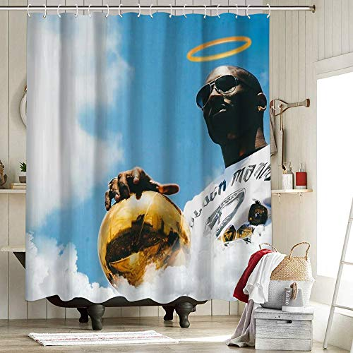 Los Angeles Lakers Championship - Cortina de ducha de tela de poliéster antihumedad 2020 FMVP Lebron James King Crown Art KoBe Sports Player Poster 72 x 172 pulgadas