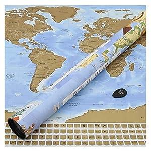 Perfect Travel Map - Mapamundi para rascar viajeros, trotamundos, turistas y Estudiantes de Idiomas - Póster de 83,6 x 60,5 cm