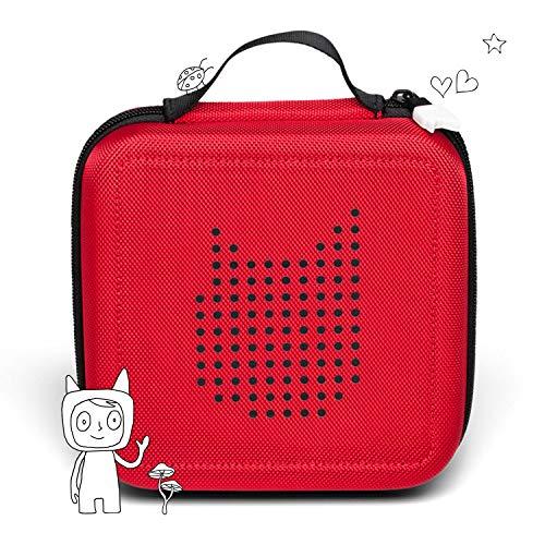 Tonie Transporttasche Rot: Die Box zur Aufbewahrung von bis zu 20 Tonies Hörfiguren - Leicht, Abwaschbar, Reißverschluss, 17,5x17,5 cm