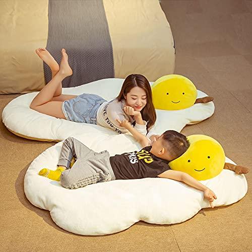 65x90cm de dibujos animados de algodón relleno suave huevo frito cojín almohada para dormir peluche bebé juguete relleno huevo escalfado comida muñeca niños regalo