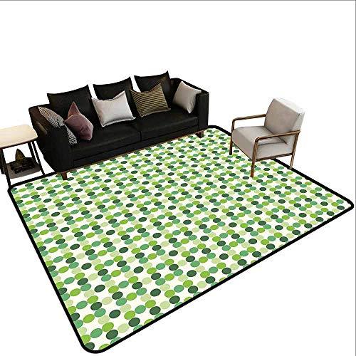 Vierkant tapijt Groen, Abstract Driehoeken Geometrische Samenstelling Fractal Mozaïek Futuristische Print,Lime Groen Apple Groen