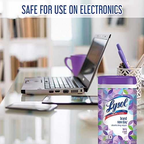 Lysol Disinfecting Wipes, Brand New Day, Berry and Basil, 80 Count, Packaging May Vary