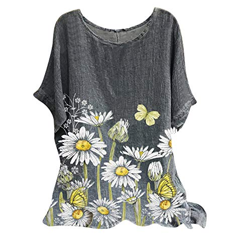 Damen Kurzarm Tops Rundhalsausschnitt Blumendruck Lässig Übergroße Baggy T-Shirt Pullover Bluse Oberteile