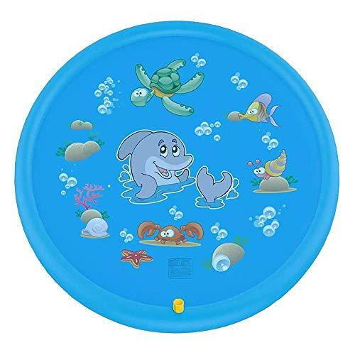 QXbecky Niños bebé rociador al Aire Libre Inflable Almohadilla de rociado de Agua diversión de Verano Piscina Almohadilla de Salpicaduras de Agua Juego tapete Redondo Seguro Azul no tóxico