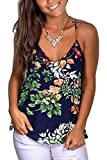 WFTBDREAM Women's Summer Floral Print V Neck Strappy Tank Tops Loose Casual Sleeveless Shirts Blouses XXL (Apparel)