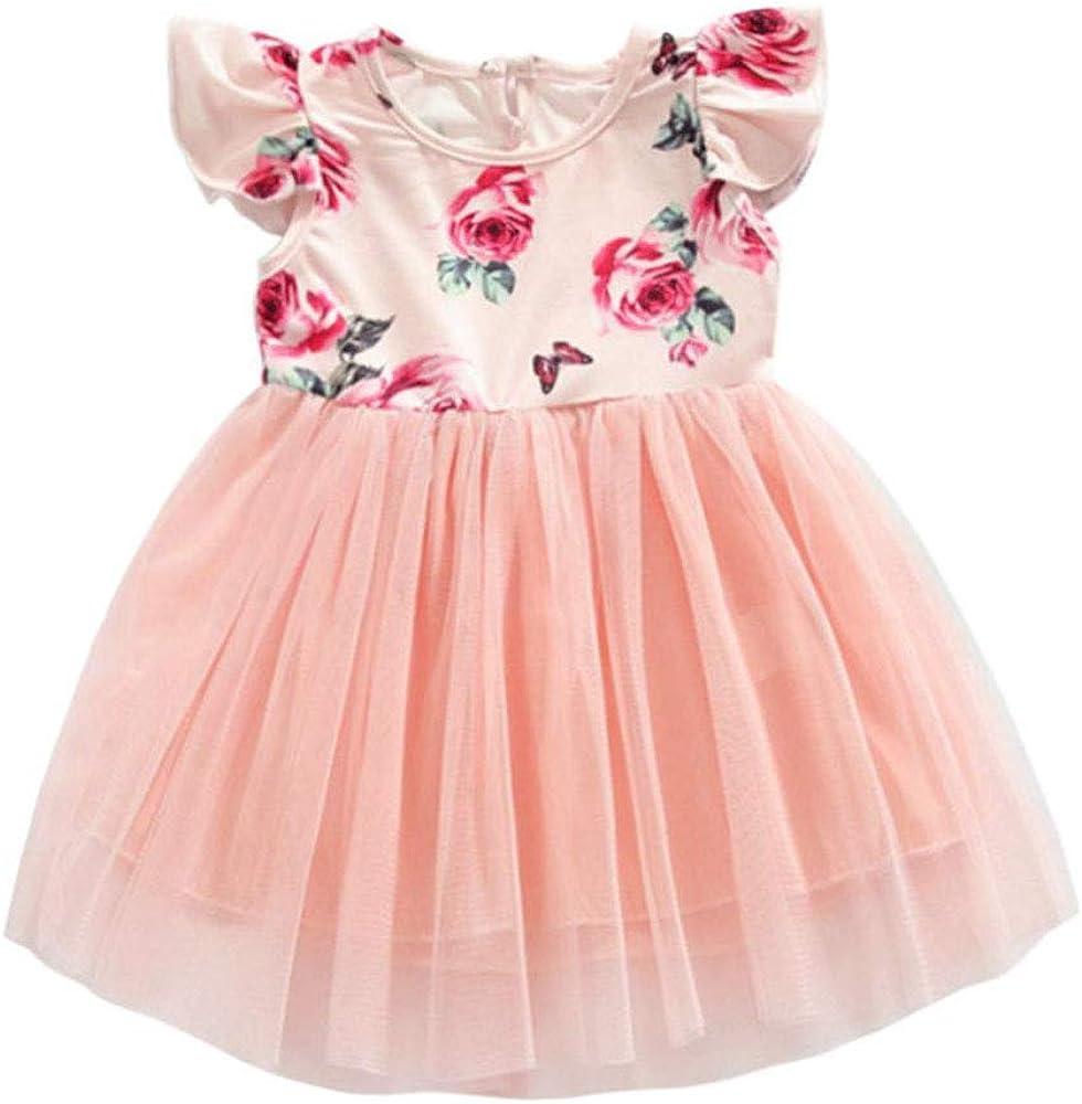 Toddler Baby Girls Tutu Dress Ruffle Sleeveless Floral Princess Dress Summer Clothes Outfits
