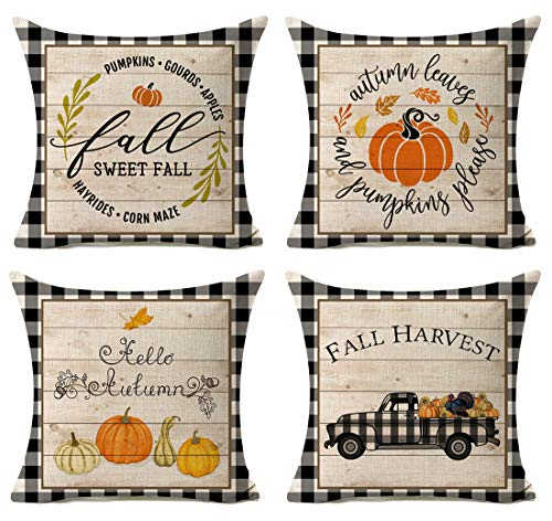 Kithomer Set of 4 Fall Buffalo Plaids Pumpkin Harvest Throw Pillow Cases Autumn Farmhouse Decorative Thanksgiving Throw Pillow Covers Cotton Linen Cushion Cover 18x18 inch