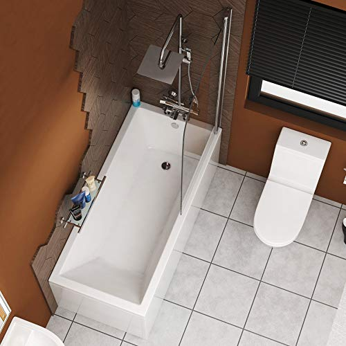 Cesar 1500 x 700mm Designer Acrylic Single Ended Bath + Bath Screen with Front & End Panel Straight...