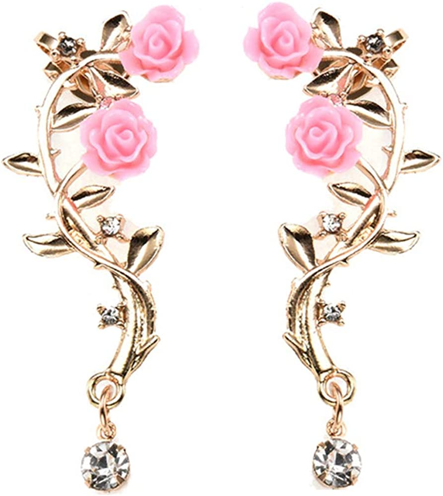 856store Ear Cuffs/Ear Studs for Women,Women Rhinestone Inlaid Rose Flower Ear Stud Cuff Clip On Earrings Jewelry Gift