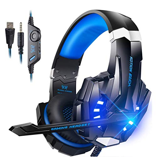 Auriculares Gaming PS5 Auriculares con Micrófono, Reducción de Ruido, Sonido Envolvente, Auriculares con Cable para PlayStation 5, PC, Switch, Auriculares Diadema con 3.5mm Jack con Luz LED ,Azul