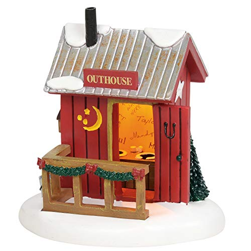 Department 56 Village Cross Product Accessories Outhouse Lit Figurine, 4.25 Inch, Multicolor