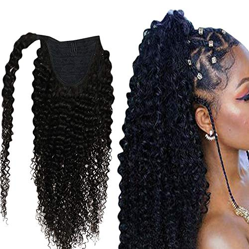 Easyouth Ponytail Ponytail Color Natural Black Afro Curly Wrap Around Ponytail Vrai Cheveux Humain Rajout Lisse Brazilian Human Hair Ponytail 14 Pouces 100g
