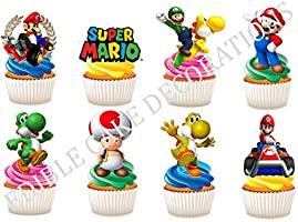 30 x Super Mario STAND UP Eetbare Papier Cupcake Toppers Cake Decoraties