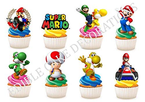 """30x Kuchen-, Backwarendekoration aus Esspapier mit Motiv """"Super Mario"""""""