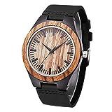 Mens Natural Wooden Watches Handmade Vintage Casual Wrist Watch Genuine Leather Zebra Wood Watch (Black)